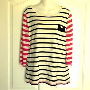 Womens ELLE White Black & Pink Shirt L